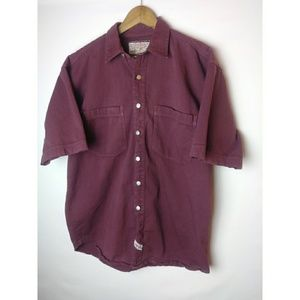 Jordin Mens Maroon Metal Button Front Sz M Shirt